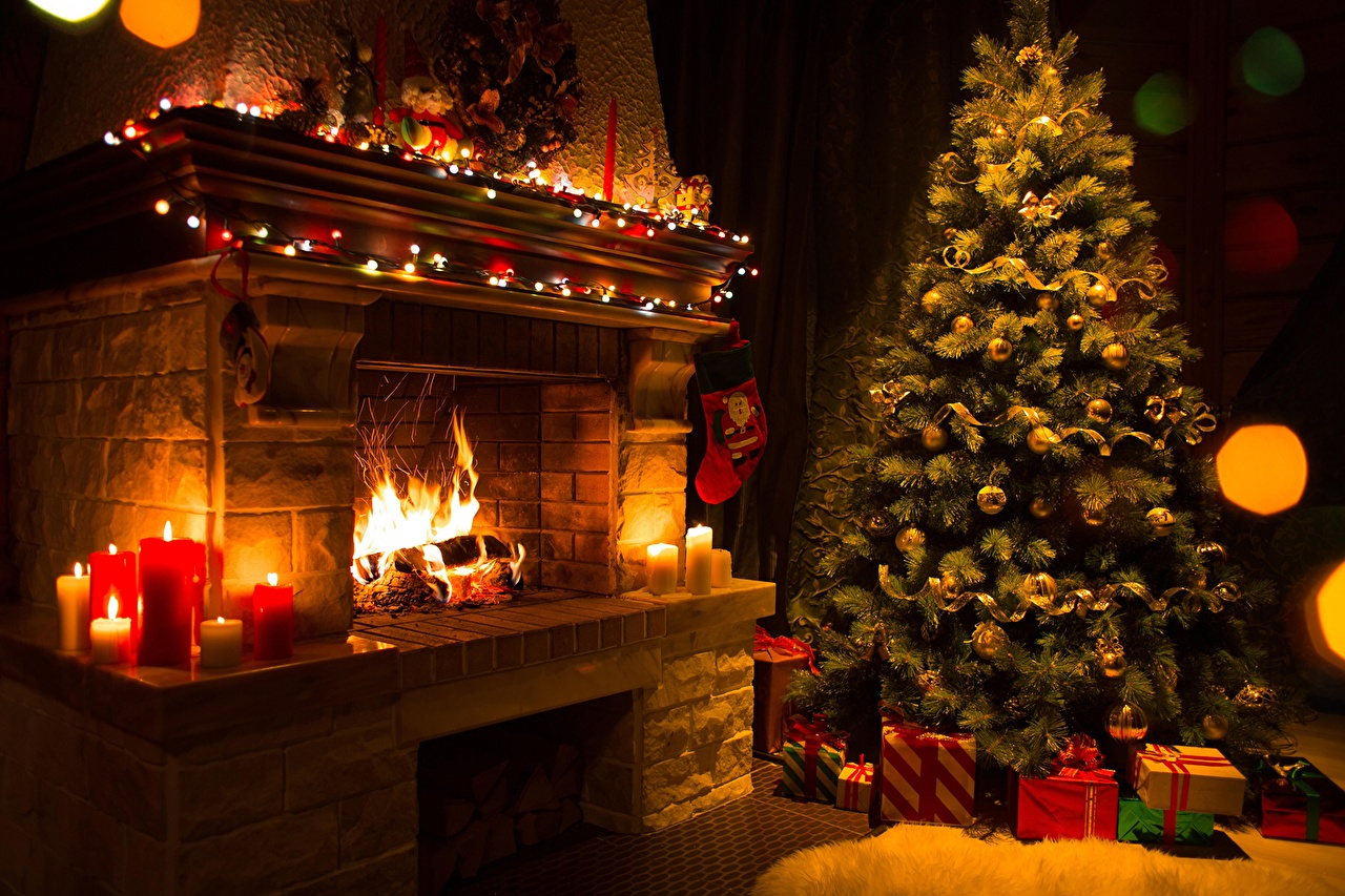 Photos New year Christmas tree Fire present Fireplace Candles 1280x853
