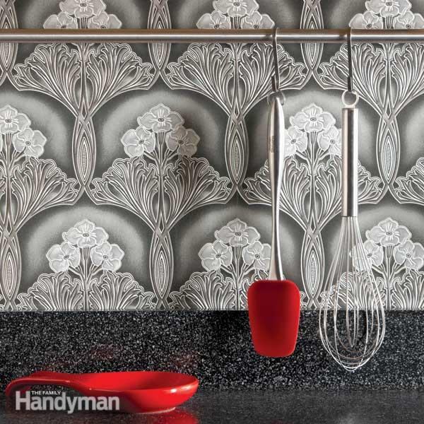 tough cleanable vinyl wallpaper to create a handsome backsplash 600x600