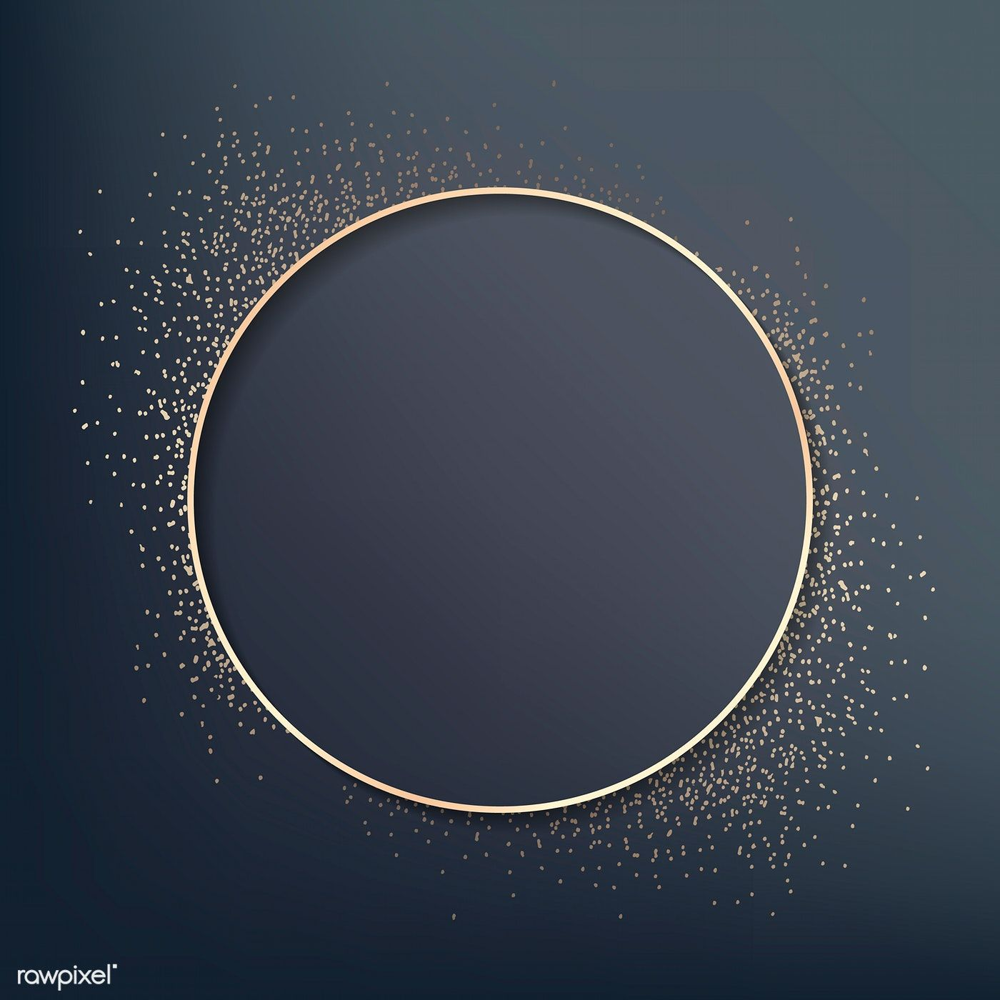 Download premium vector of Gold round badge on blue background 1400x1400