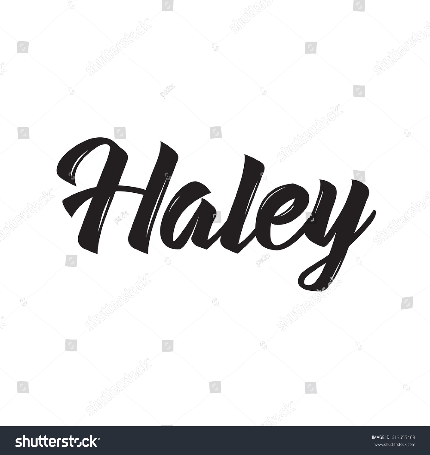 Haley Text Design Vector Calligraphy Typography Vector de stock 1500x1587
