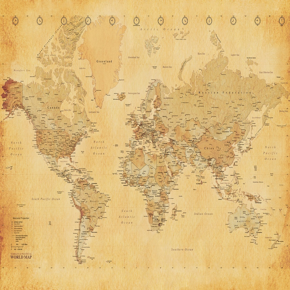 Murals 1 Wall 1 Wall Vintage Old Map Giant Wallpaper Mural 1000x1000