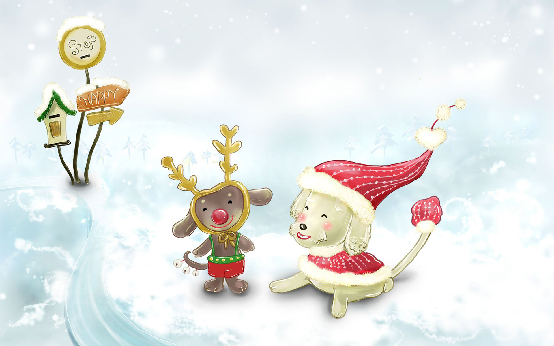wallpaper cute christmas snow animals desktop 1920x1200 1920x1200
