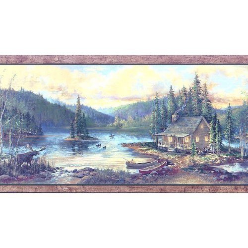 Lake Cabin Wallpaper Border 500x500