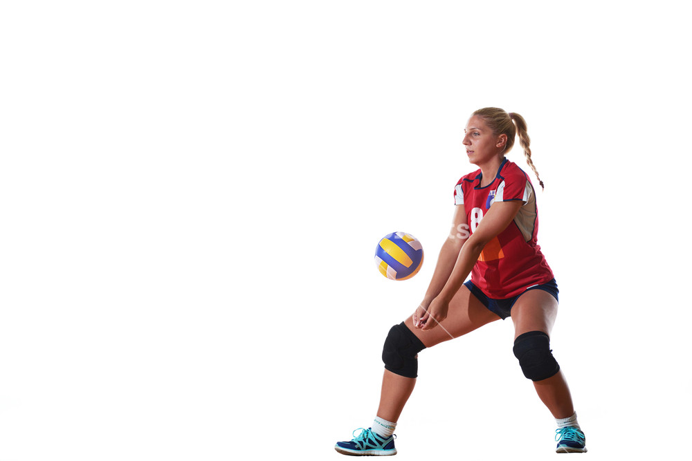 Volleyball woman isolated on white background Royalty  Stock 1000x667