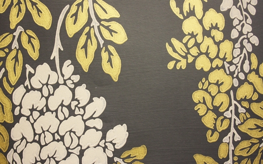 wisteria print wallpaper in gold and taupe on chalkboard black 534x333