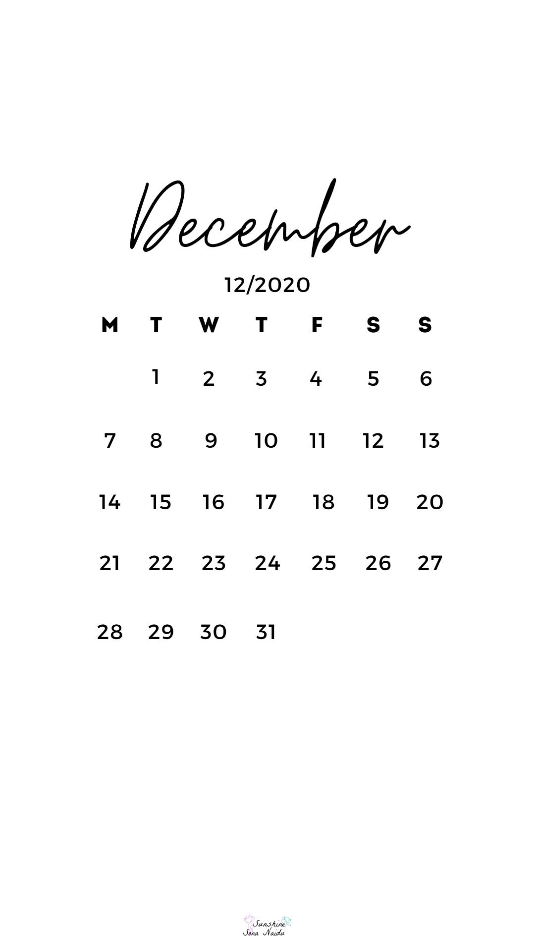 December 2020 wallpaper in 2020 Calendar wallpaper Cute 1080x1920