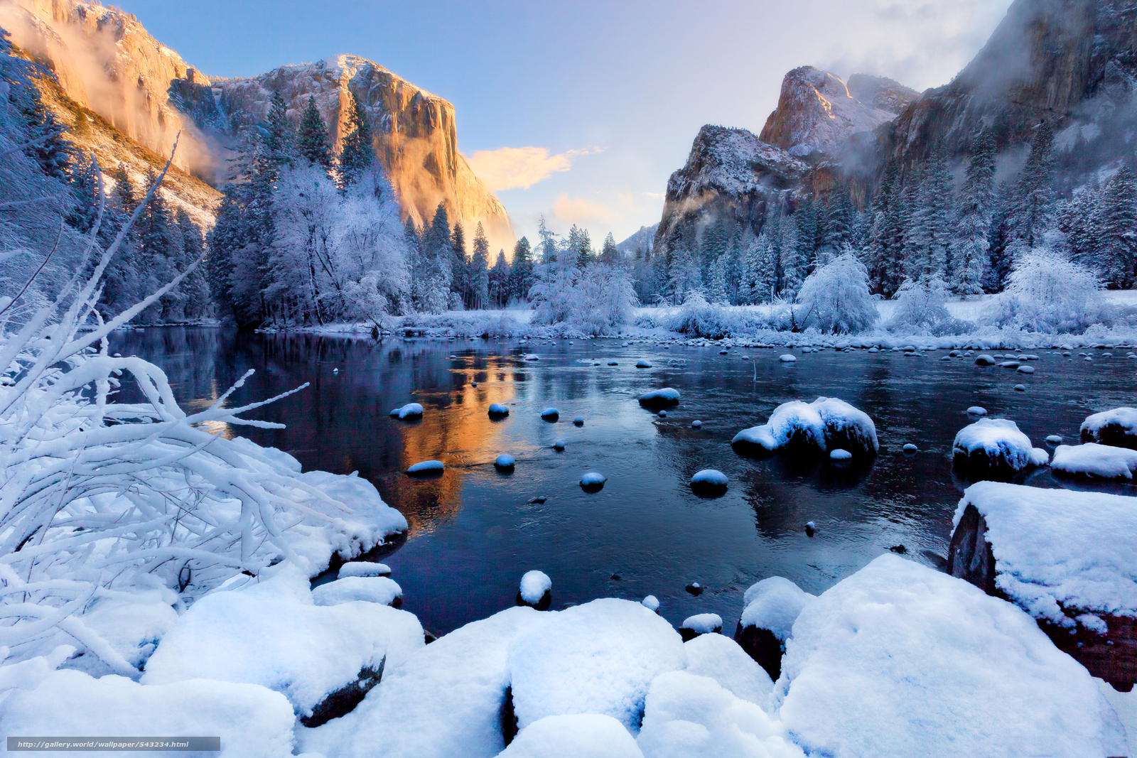 Download wallpaper winter season Yosemite National Park California 1600x1067