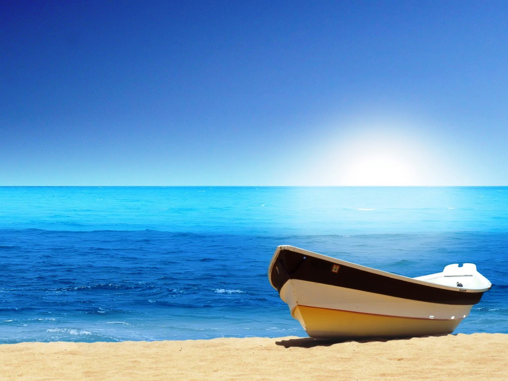 Looks More Peaceful Beach Scene Desktop Wallpaper Boat at the Beach 1024x768