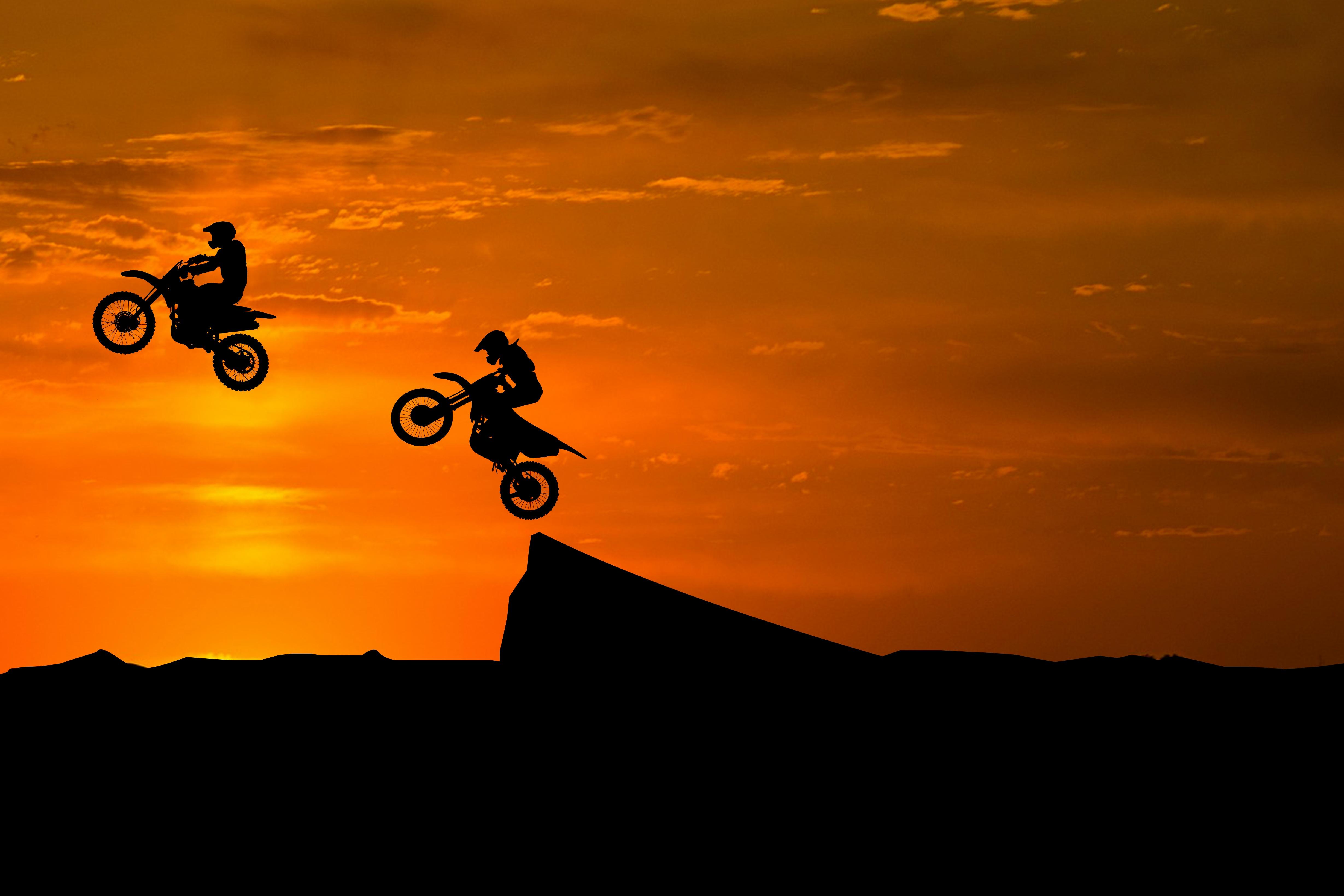 Dirt Bikes Stunts Silhouette Sunset 4K Off roading 4917x3278