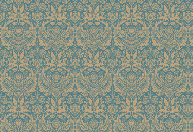 Desire Wallpaper Teal and Gold traditional wallpaper 640x438