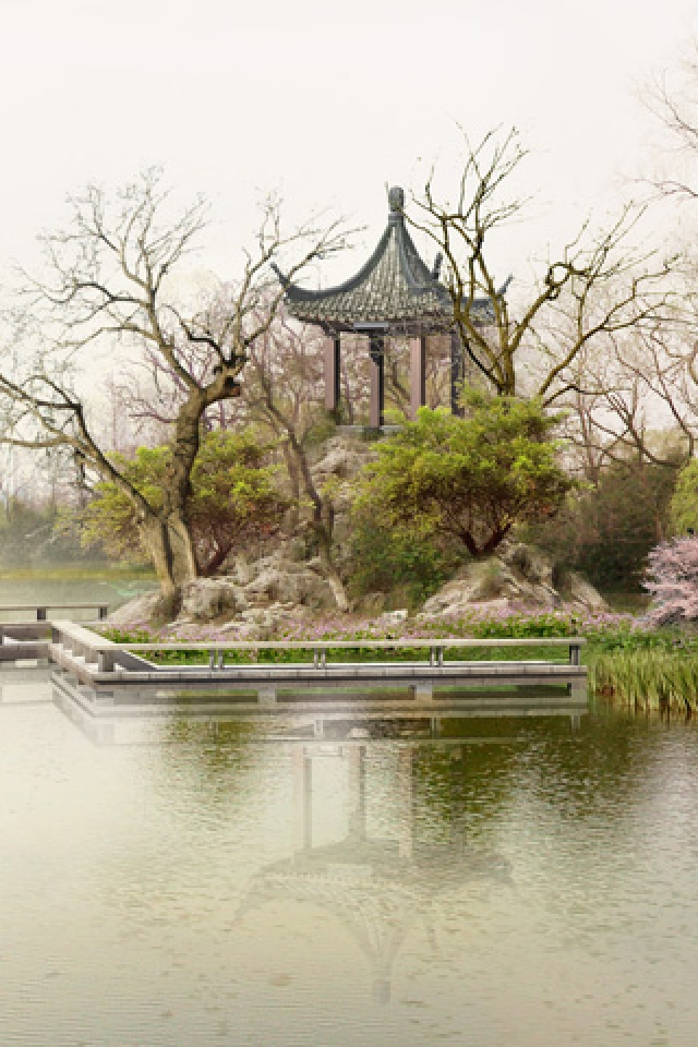 Free Download Chinese Style Architecture And Garden Iphone