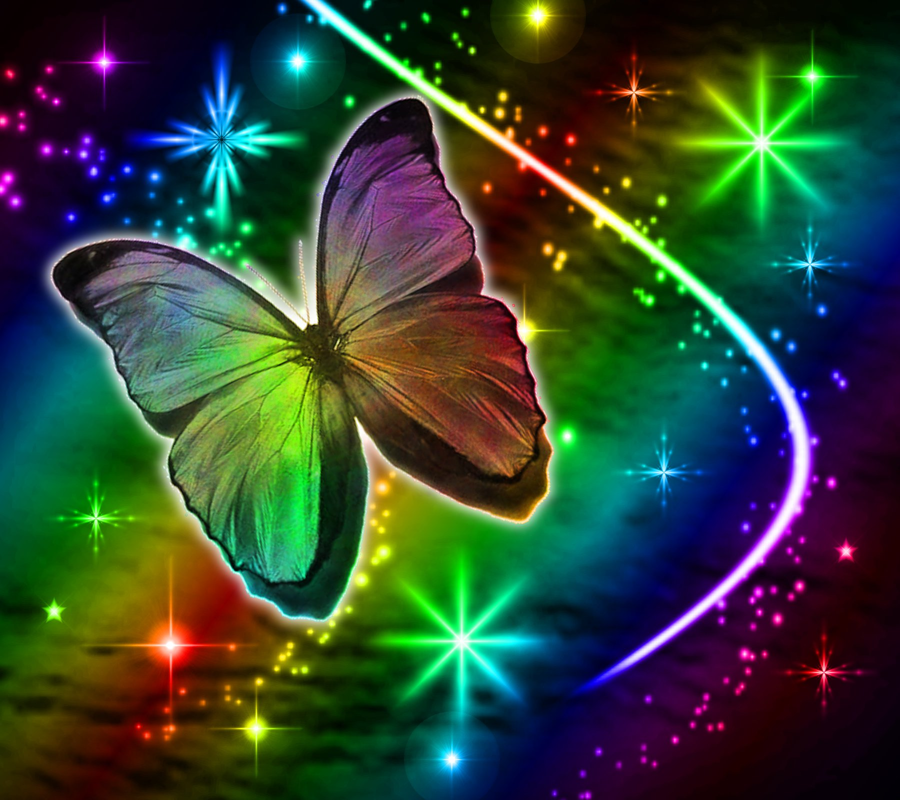 Background Wallpaper Image Rainbow Butterfly With Stars Background 1800x1600