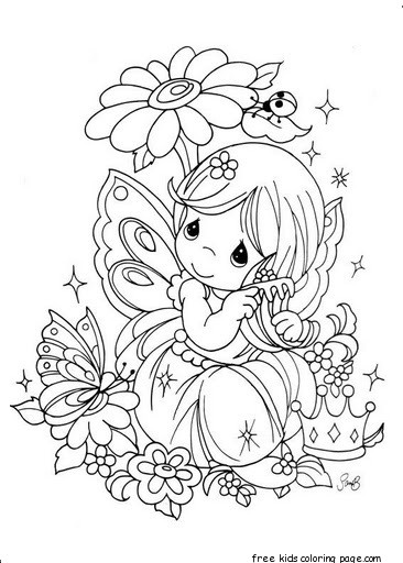 Free download Precious Moments girl with flowers coloring ...