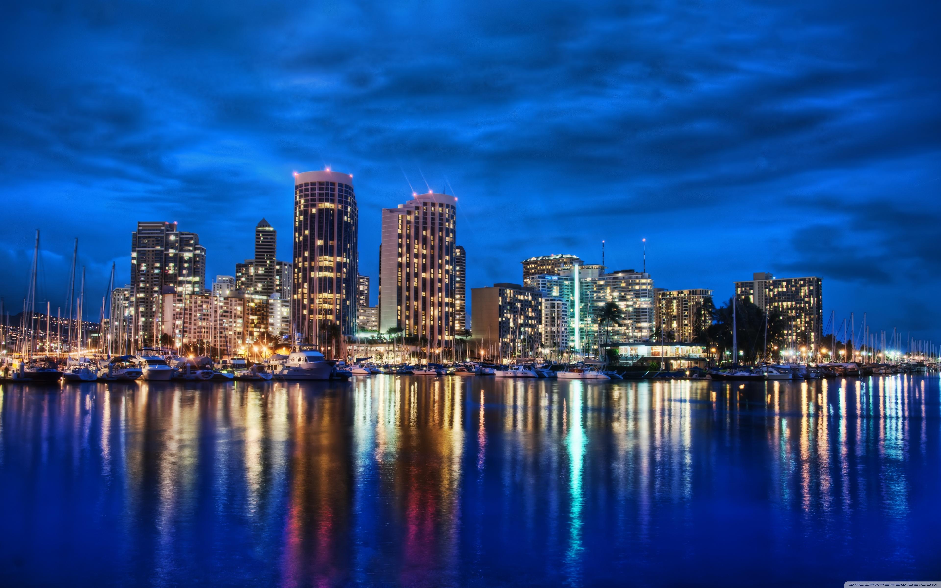 Waikiki Skyline At Night 4K HD Desktop Wallpaper for 4K Ultra 3840x2400