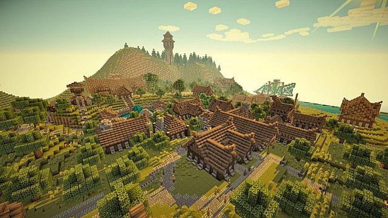 Майнкрафт карта деревня
