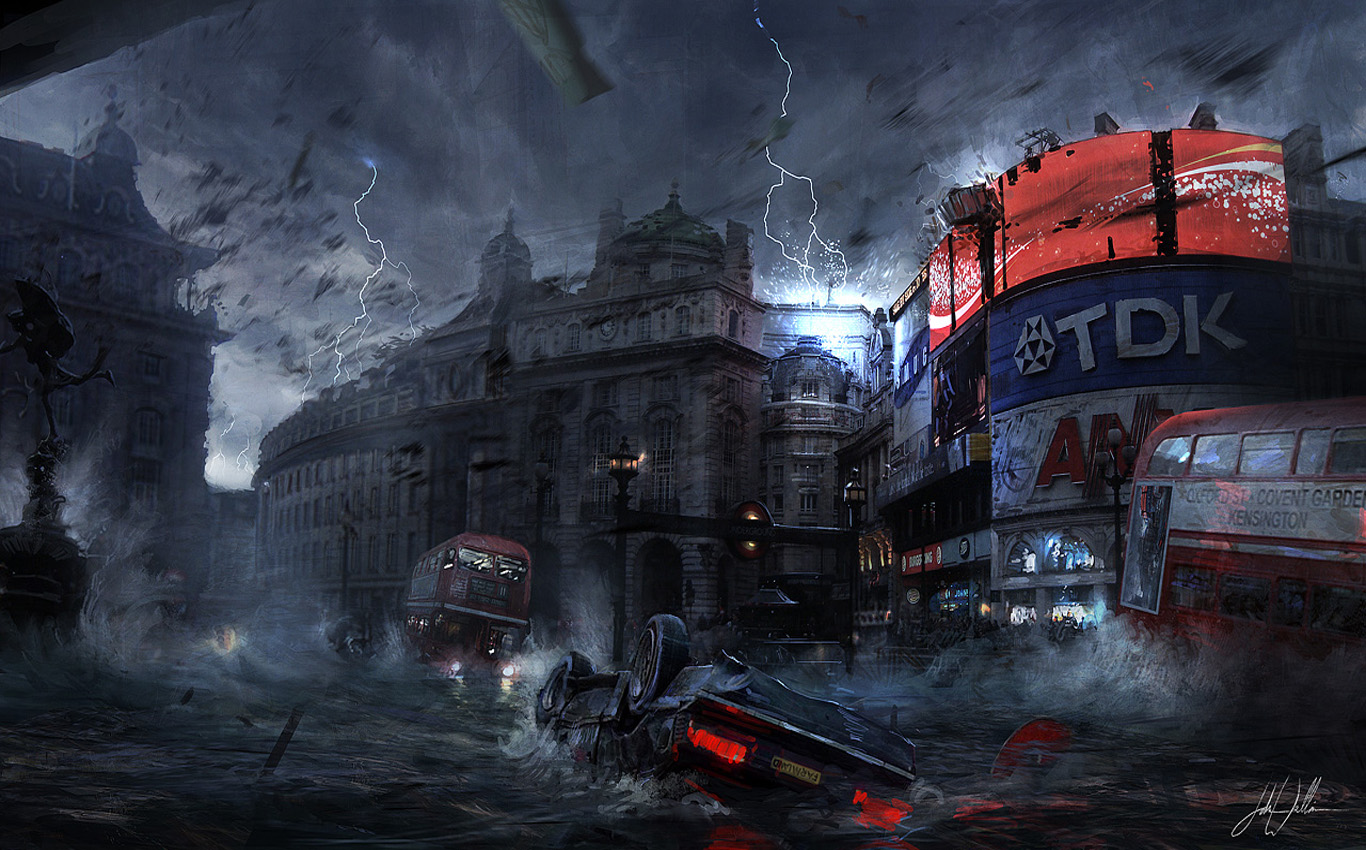 Apocalyptic background   SF Wallpaper 1366x850