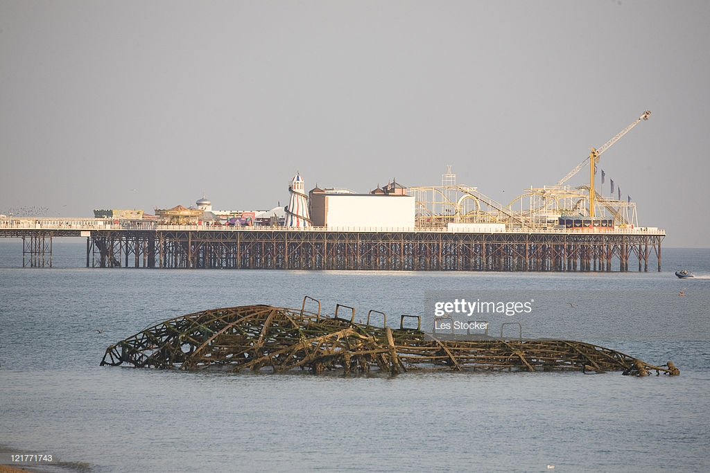 Brighton West Pier Wreckage With Palace Pier In Background East 1024x683