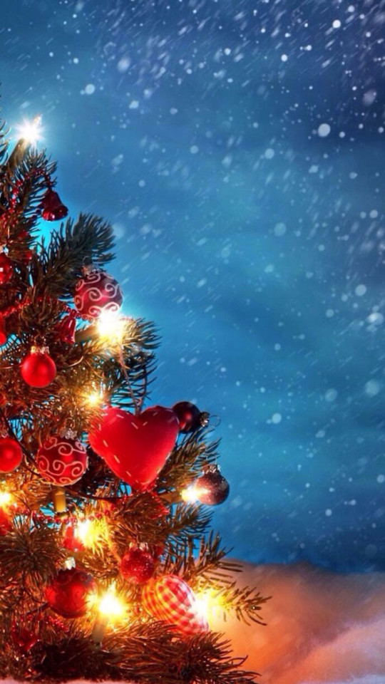 Christmas Tree In Snow Wallpaper   iPhone Wallpapers 540x960
