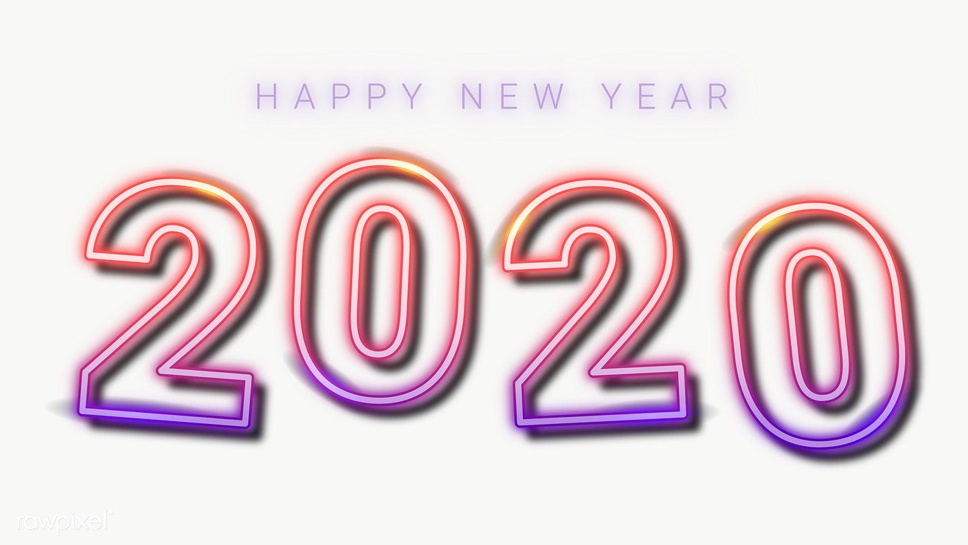 Download premium png of Neon happy new year 2020 wallpaper 1400x788