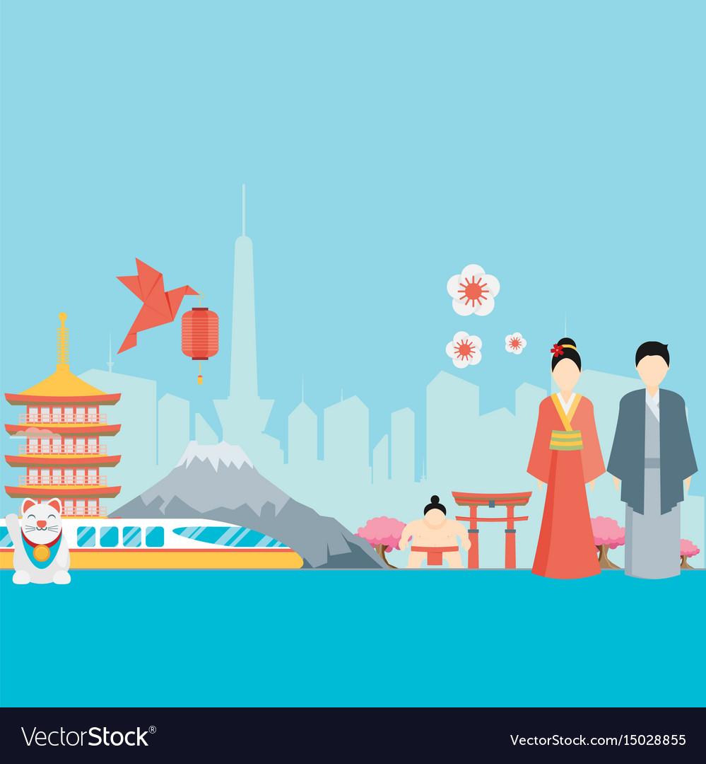 Japan background design on japanese theme Vector Image 999x1080