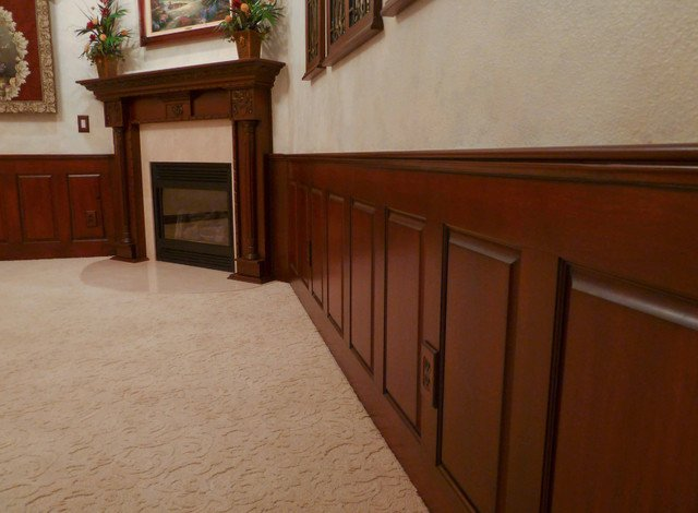 Mahogany Raised Panel Wainscoting Dining Room traditional 640x470