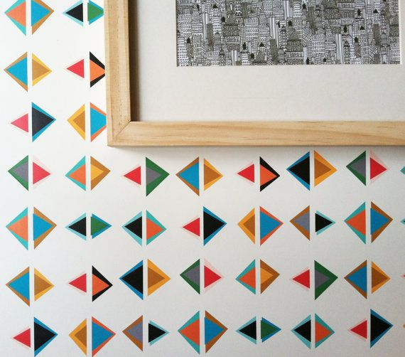 Removable Wallpaper Triangle Print Perfect for renters and DIY 570x502