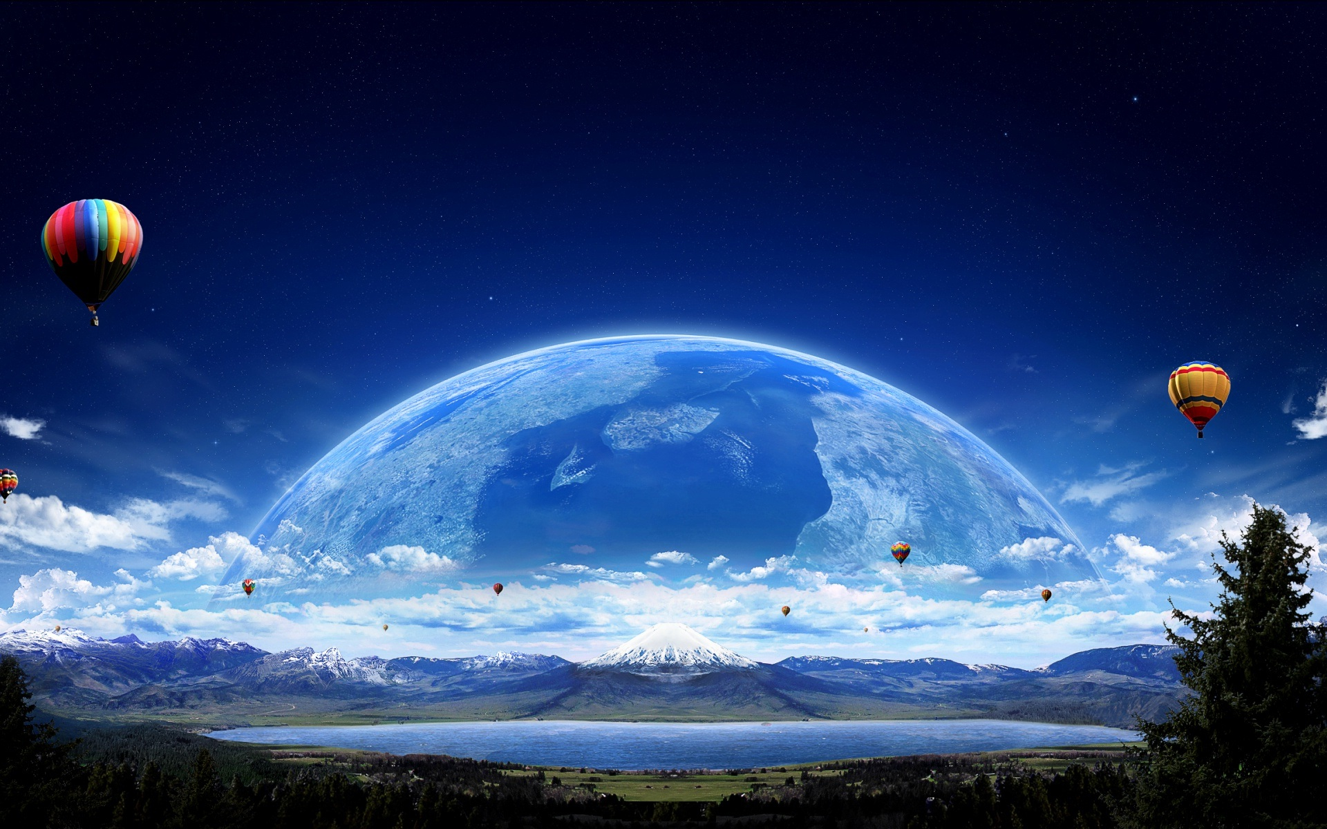 Air Dalloon Planet Macbook Wallpapers Download Desktop 1920x1200