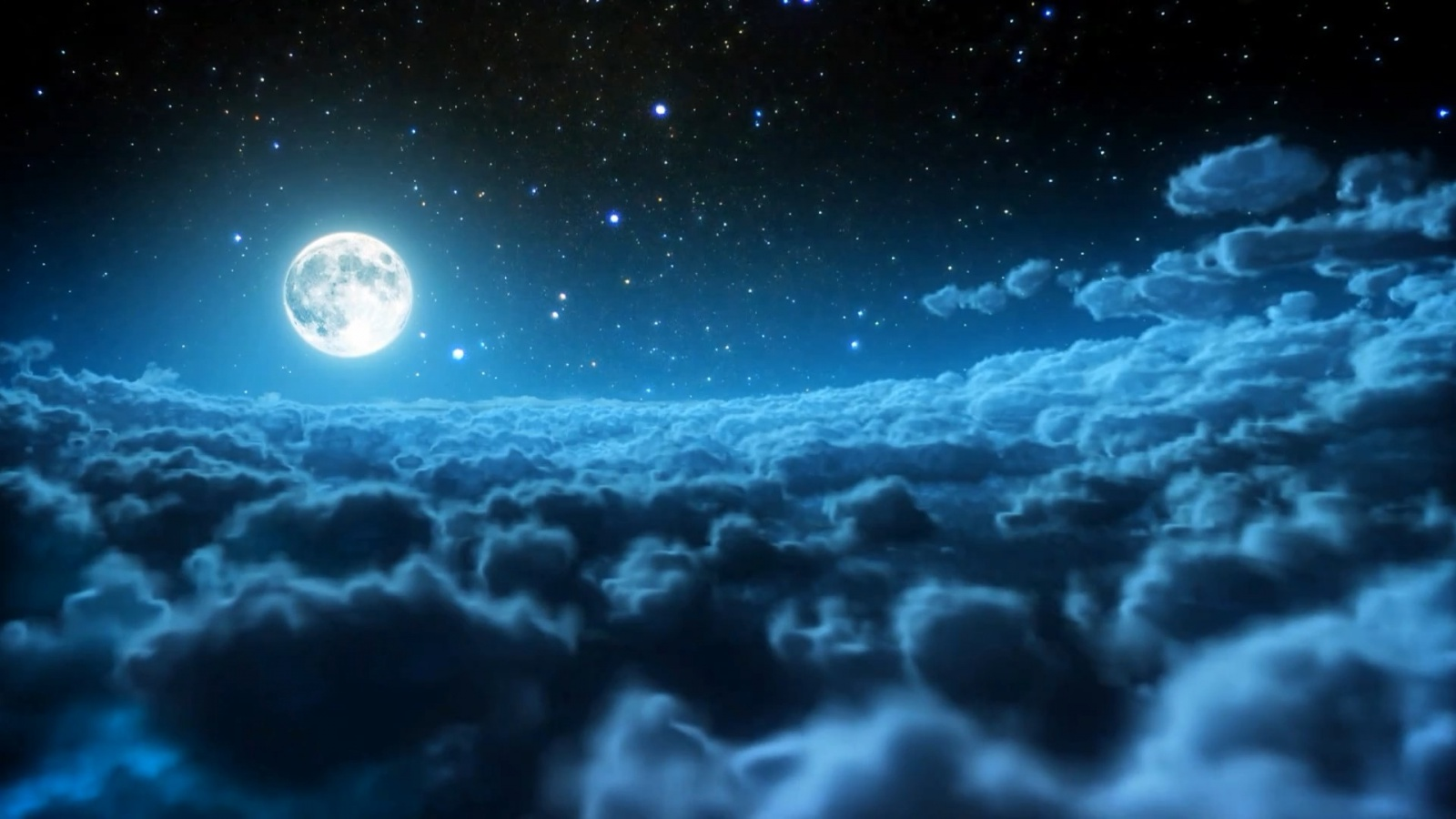 Beauty Night Sky With Moon Important Wallpapers 1600x900