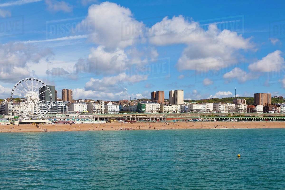 England Sussex Brighton View of beach and big wheel in 1200x800