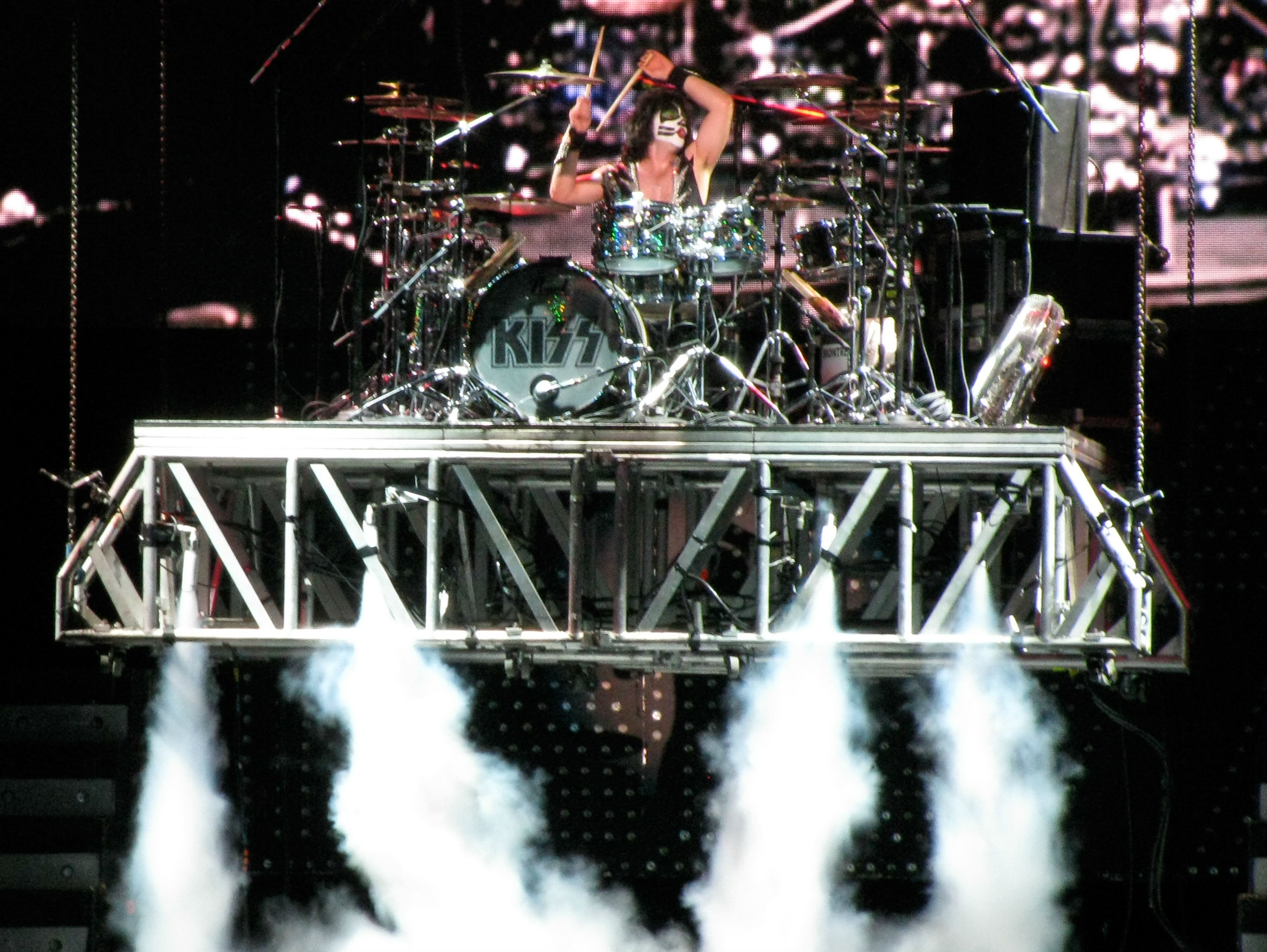 Kiss heavy metal rock bands drums concert wallpaper background 2339x1758