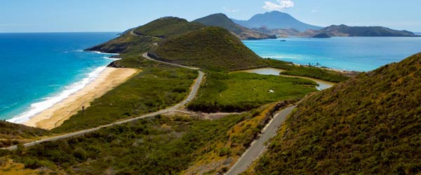 of Saint Kitts with the volcanis Nevis Island in the background 600x250