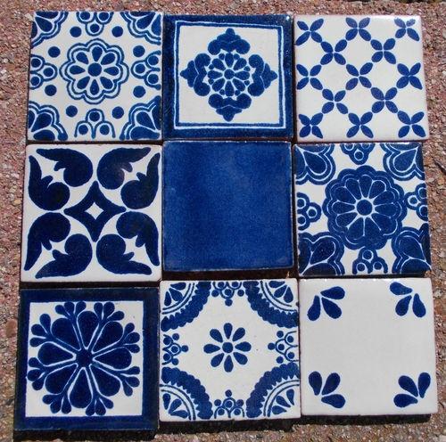 18 Mexican Talavera Pottery 2 Clay Tile Mix Blue Azul Cream White 500x496