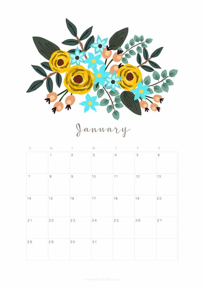 Printable January 2018 Calendar Monthly Planner   Floral 680x962