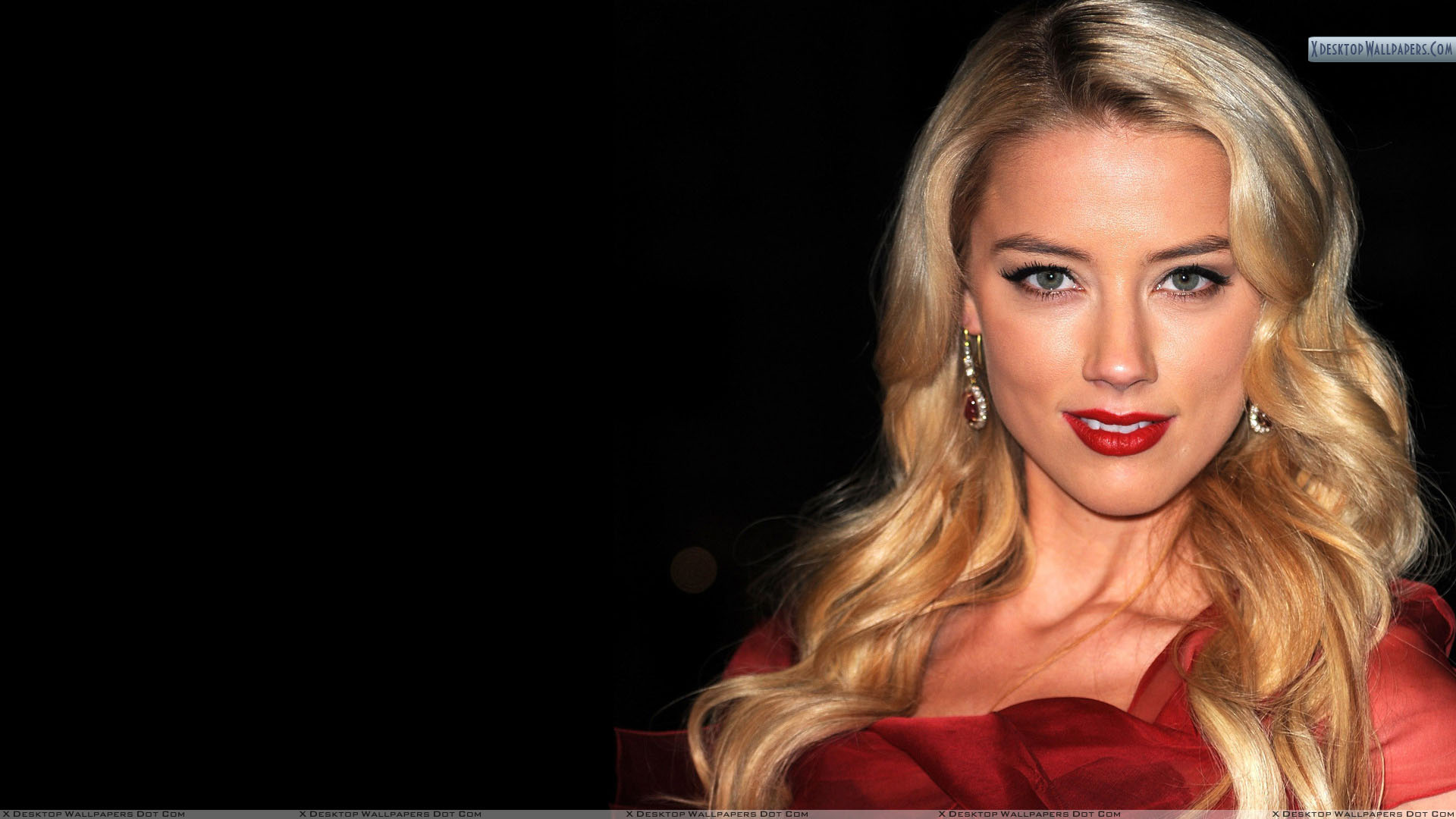 Amber Heard Smiling In Red Lips And Black Background Wallpaper 1920x1080