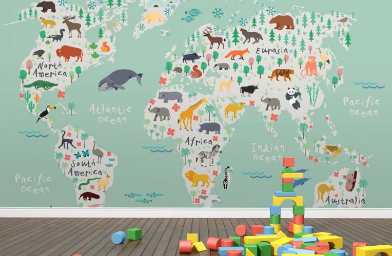 Nursery Mural Wallpaper Map Wallpapersafari