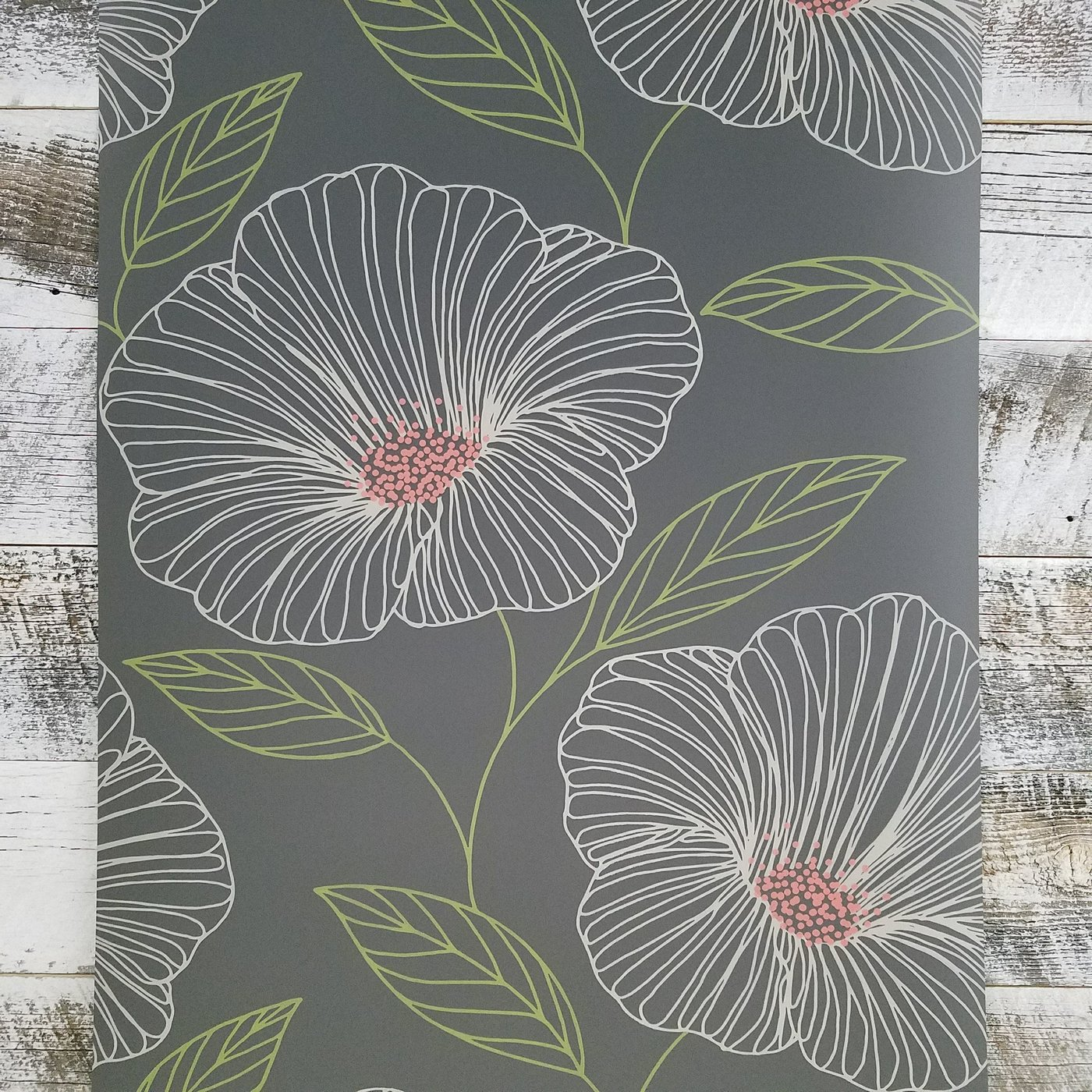 Mythic Charcoal Matte Grey Large Floral Farmhouse Boho Wallpaper 1400x1400