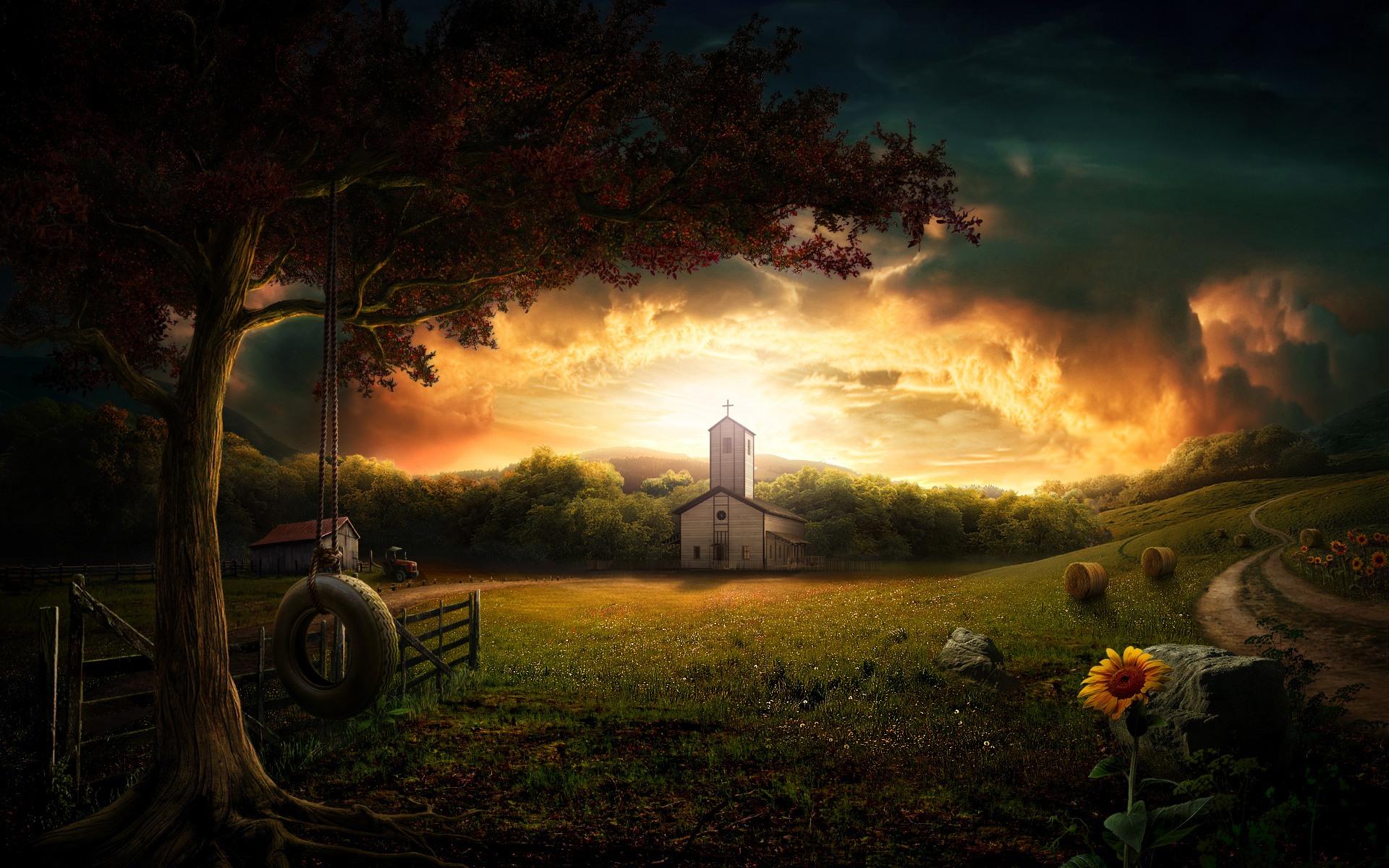 Country Village desktop wallpaper 1920x1200
