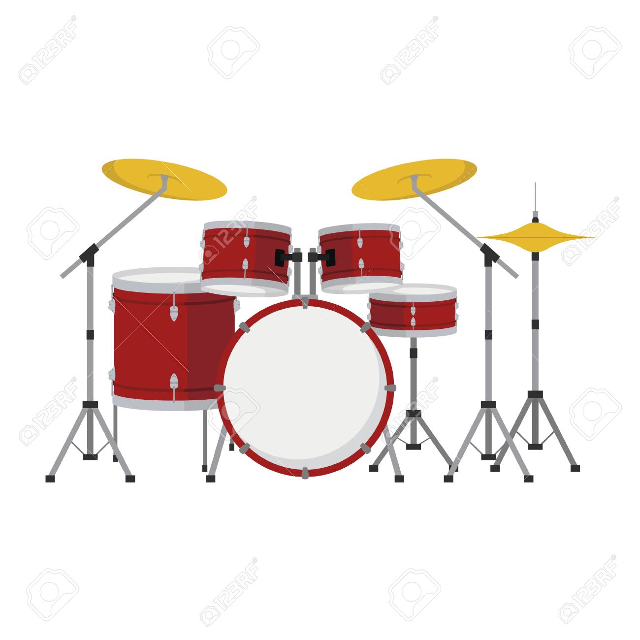 Drum Set In Cartoon Style Isolated On White Background Vector 1300x1300