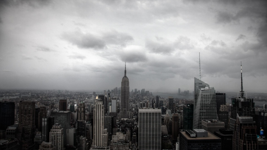 New York City Empire State Building Black And White   Wallpaper 896x504