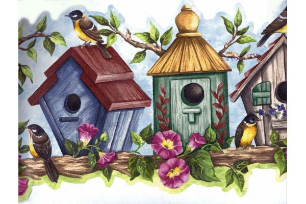 Home Blue Bird House Wallpaper Border 600x400