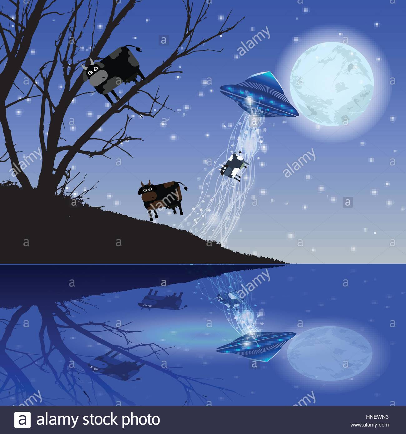 Cow Abduction UFO night moon Illustration Use wallpaper for the 1300x1390
