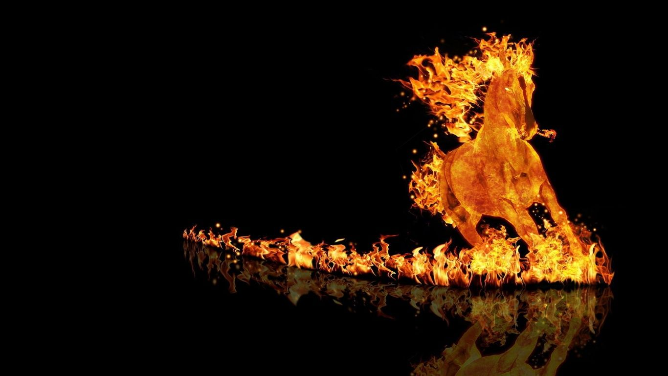Fireball HORSE Horse wallpaper Fire horse y Fire art 1366x768