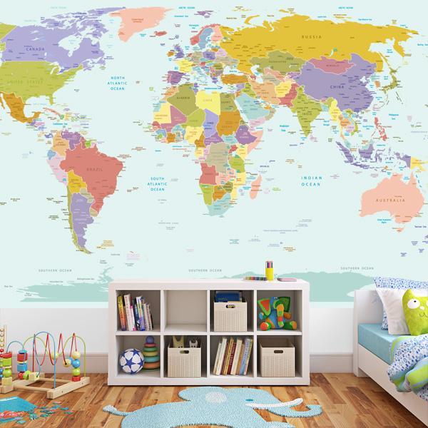 World Map Wallpaper Mural for Kids Room 600x600
