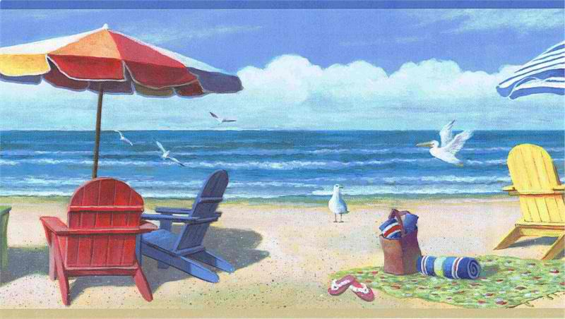 Summer At The Beach Wallpaper Border   Coastal Nautical Wallpaper 800x452