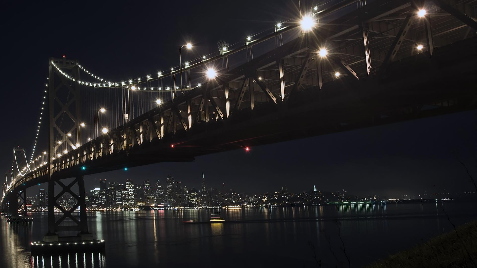 Free download Hd 1920x1080 City Bridge At Night Desktop