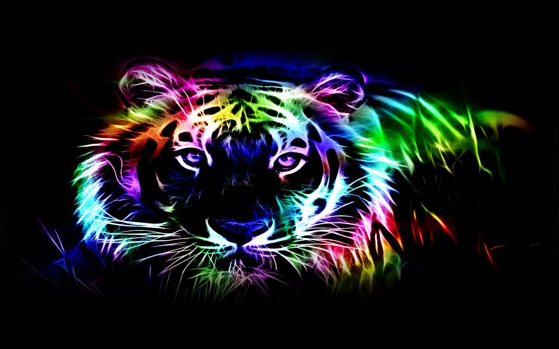 Neon tiger wallpaper wallpapersafari - Neon animals wallpaper ...