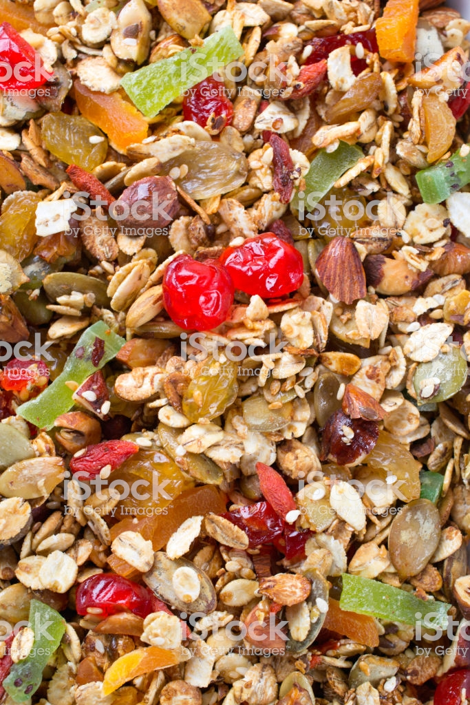 Textured Food Background Baked Granola With Oat Flakes Honey Nuts 683x1024
