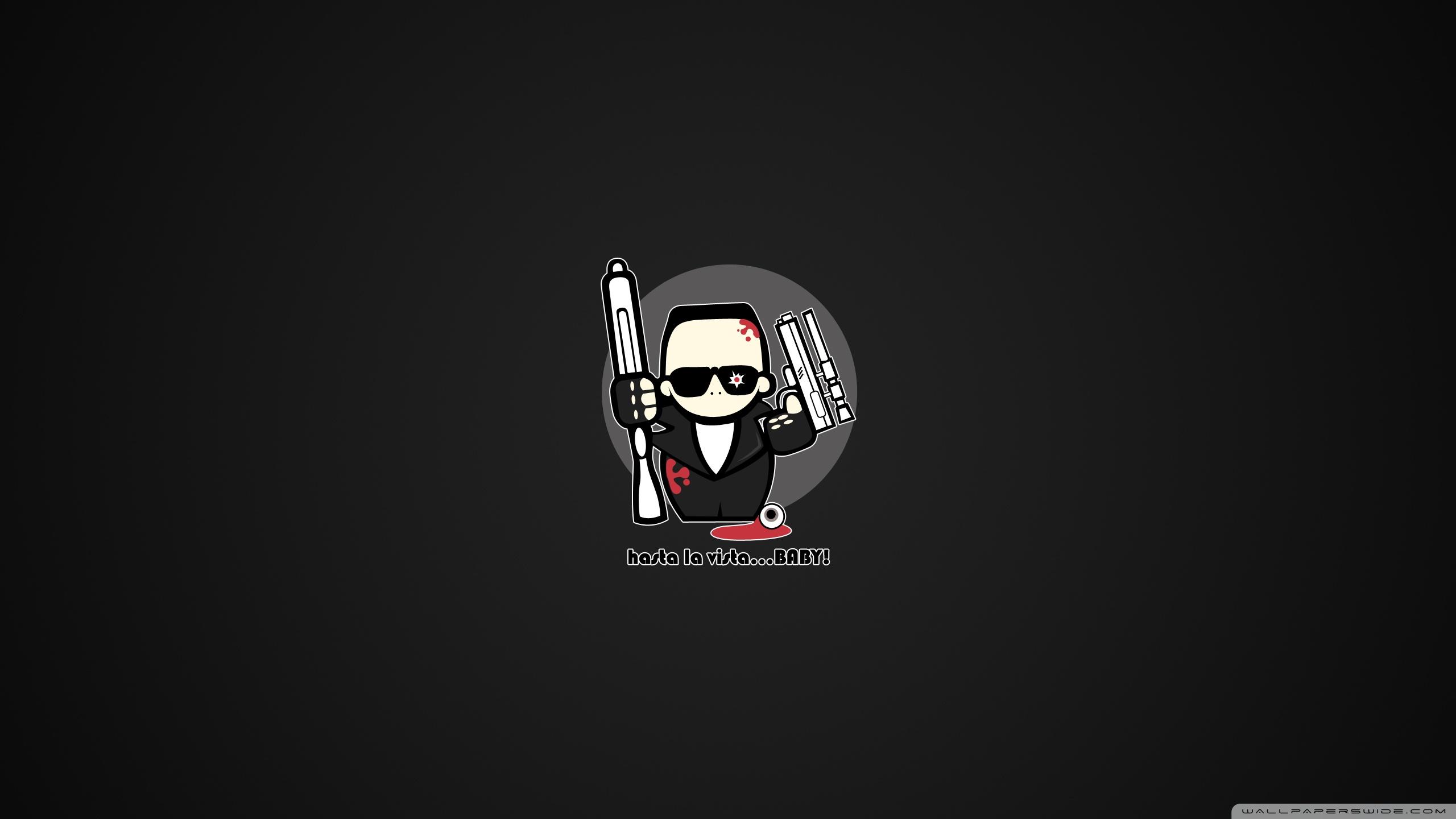 Funny Terminator Cartoon 4K HD Desktop Wallpaper for 4K Ultra 2560x1440