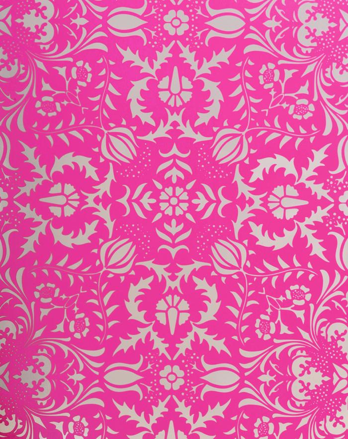 Home Wallpaper Dauphine Hot Pink Damask Wallpaper 700x884