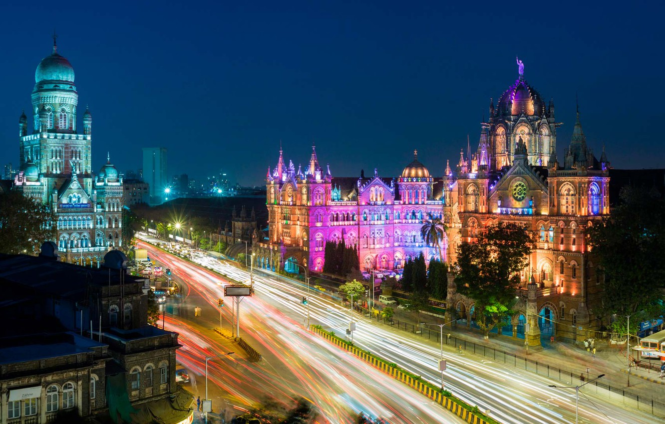 Wallpaper night lights home India Mumbai Station And The 1332x850